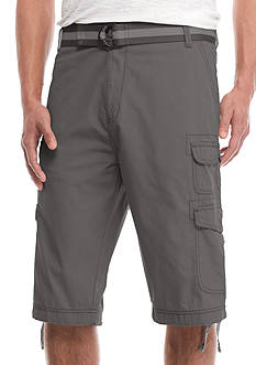 Plugg™ Big & Tall 'Barrier' Belted Mini Ripstop Messenger Length Cargo Shorts