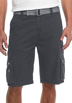 Plugg™ Big & Tall 'Eureka' Belted Stacked Pocket Twill Cargo Shorts