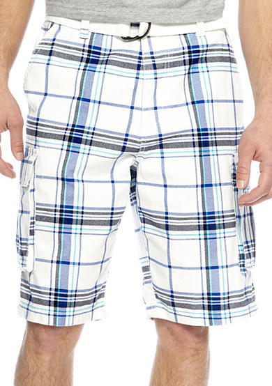 Plugg™ Aden Belted Printed Plaid Twill Cargo Shorts