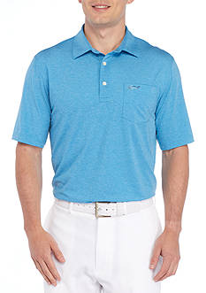 Greg Norman Collection Short Sleeve Stretch Heather Printed Polo Shirt