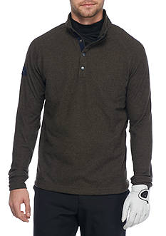 Greg Norman Collection Heathered Fleece Snap Mock Neck Pullover
