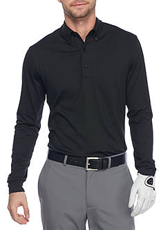 Greg Norman Collection Solid Long Sleeve Polo Shirt