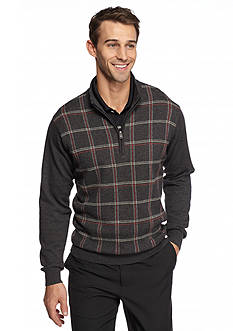Greg Norman® Collection 1/4 Zip Plaid Sweater