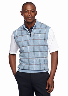 Greg Norman® Collection Quarter Zip Plaid Vest