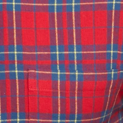 Big & Tall: Saddlebred Casual Shirts: Red Saddlebred Big & Tall Long Sleeve Flannel Button Down Shirt