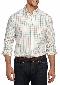Saddlebred Big & Tall Long Sleeve Plaid Easy Care Button Down Shirt