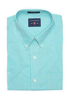 Saddlebred Big &Tall Short Sleeve Easy Care Mini Gingham Shirt