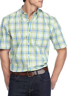 Saddlebred Big & Tall Short Sleeve Easy Care Mini Gingham Shirt