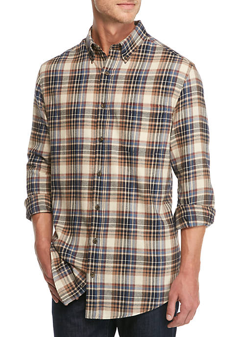 Saddlebred big tall long sleeve flannel shirt belk for Large tall flannel shirts