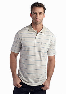 Saddlebred® Stripe Short Sleeve Pocket Jersey Polo Shirt