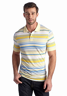Saddlebred  1888 Short Sleeve Tailored Fit Stripe Pique Polo