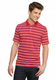 Saddlebred® Short Sleeve Stripe Jersey Polo Shirt