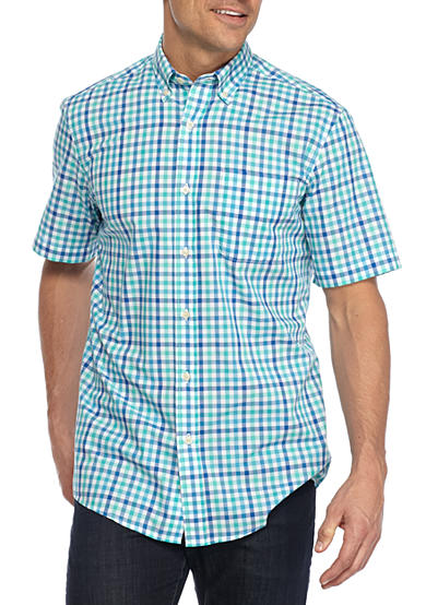 Saddlebred short sleeve woven button down wrinkle free for Wrinkle free button down shirts