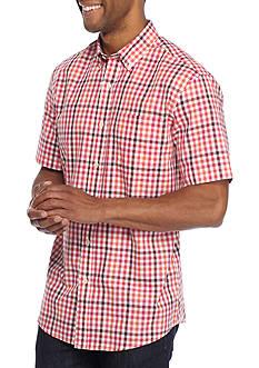 Saddlebred Short Sleeve Woven Button Down Wrinkle Free Shirt