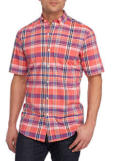 Saddlebred Short Sleeve Wrinkle Free Woven Button Down Shirt