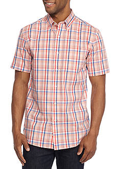 Saddlebred Short Sleeve Easy Care Medium Window Pane Button Down Shirt