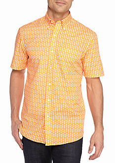 Saddlebred® Short Sleeve Easy Care Print Button Down Shirt