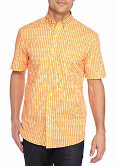 Saddlebred Short Sleeve Easy Care Print Button Down Shirt