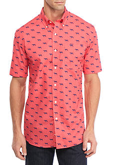 Saddlebred Short Sleeve Easy Care Print Button Down Shirt