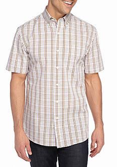 Saddlebred Short Sleeve Easy Care Mini Plaid Button Down Shirt