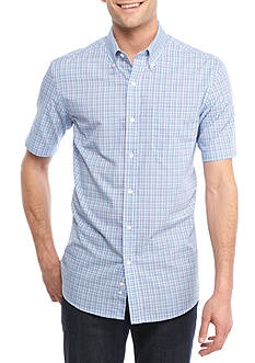 Saddlebred Short Sleeve Easy Care Mini Plaid Button Down Shirt
