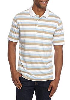 Saddlebred Short Sleeve Striped Jersey Polo Shirt