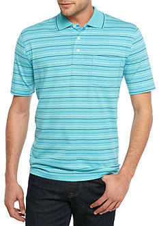 Saddlebred® Easy Care Short Sleeve Striped Jersey Polo Shirt
