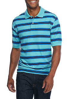 Saddlebred Short Sleeve Striped Pique Polo Shirt