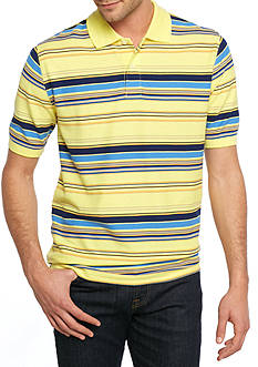 Saddlebred Short Sleeve Pique Striped Polo Shirt