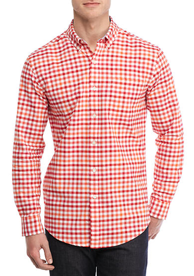 Saddlebred® Long Sleeve Single Pocket Gingham Shirt