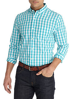 Saddlebred 1888 Long Sleeve Tailored Fit Poplin Plaid Shirt