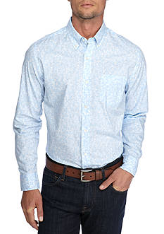 Saddlebred 1888 Long Sleeve Tailored Poplin Print Shirt