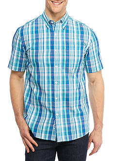 Saddlebred® Short Sleeve Easy Care Plaid Button Down Shirt