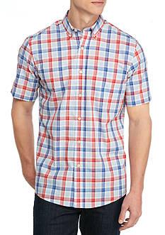 Saddlebred Short Sleeve Wrinkle Free Plaid Woven Shirt