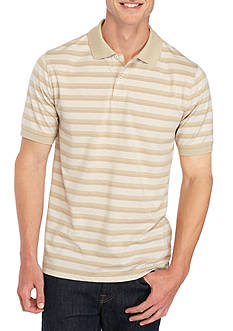 Saddlebred® Short Sleeve Jacquard Stripe Pique Polo