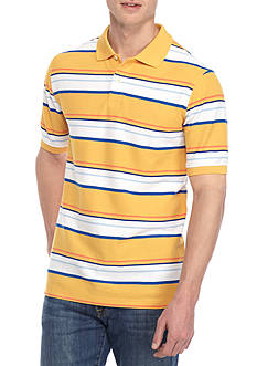 Saddlebred® Short Sleeve Stripe Pique Polo