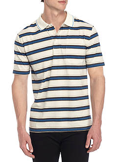 Saddlebred® Short Sleeve Striped Jersey Polo