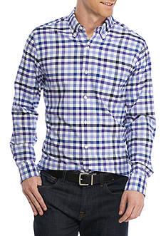 Saddlebred Long Sleeve Tailored Gingham Oxford Shirt