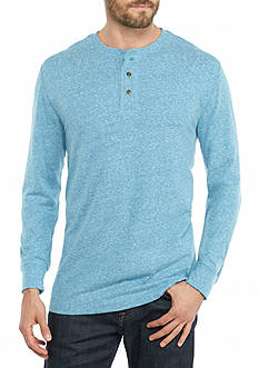 Saddlebred Long Sleeve Solid Sueded Henley Shirt