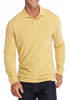 Saddlebred Long Sleeve Solid Sueded Jersey Polo Shirt