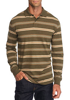 Saddlebred® Long Sleeve Stripe Jersey Polo Shirt