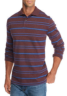 Saddlebred Long Sleeve Stripe Jersey Polo Shirt