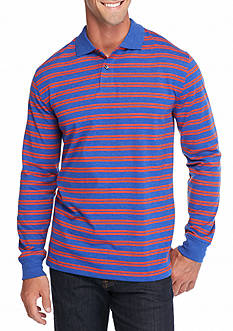 Saddlebred® Long Sleeve Sueded Striped Polo Shirt