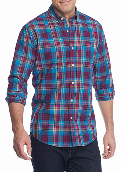 Saddlebred® Long Sleeve Wrinkle Free Plaid Shirt