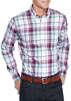Saddlebred Long Sleeve Medium Plaid Wrinkle Free Shirt