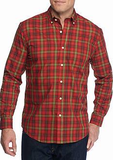 Saddlebred Long Sleeve Wrinkle Free Plaid Shirt