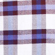 Men: Saddlebred Casual Shirts: Burgundy/Blue Saddlebred Long Sleeve Plaid Oxford Shirt