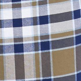 Men: Saddlebred Casual Shirts: Olive/Blue Saddlebred Long Sleeve Plaid Oxford Shirt