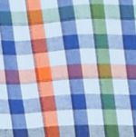 Men: Check & Plaid Sale: Blue Multi Saddlebred Long Sleeve Small Gingham Easy Care Shirt
