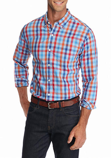 Saddlebred® 1888 Long Sleeve Tailored Gingham Poplin Shirt